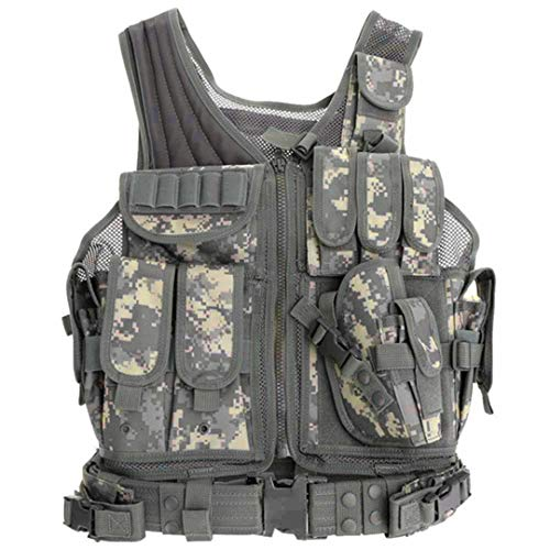 Men Outdoor Fishing Vest Hiking Jackets Polyester War Game Hunting Vest for Camping Multi Pockets Champagne