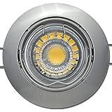 2er Set 3Watt Decken Einbauleuchte Linus 230Volt COB LED Neutralweiß EEK A+ Schwenkbar Einbautiefe 65mm Farbe Edelstahl geb.