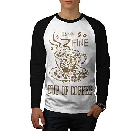 Kaffee Tasse Heiß Fein Essen Herren S Baseball lange Ärmel T-Shirt | Wellcoda (Bekam Baseball)