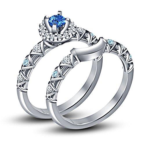 Vorra Fashion taglio rotondo Multi pietra principessa Disney Cenerentola Bridal Set Anello in argento Sterling 925, Argento, 12,5, colore: White, cod. NEW1670_15