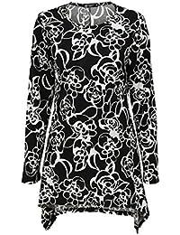 wlittle Damen Bluse Langarm, Rundhals Große Größen Asymmetrisch Casual  Oberteile für Mollige Frauen 691e4bc949