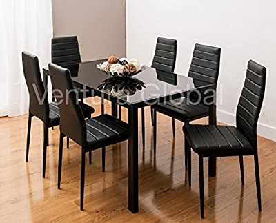 Glass Dining Table Set And 6 Faux Leather Chairs In 3 Distinctive Designs By Smartdesignfurnishings® produced by SMARTDESIGNFURNISHINGS® - quick delivery from UK.