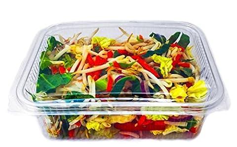 Eden elfes 50x 750cc Effacer Plastique jetables saladiers à nourriture avec couvercle à charnière