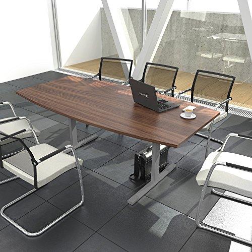 EASY Konferenztisch Bootsform 180x100 cm Nussbaum Besprechungstisch Tisch, Gestellfarbe:Silber