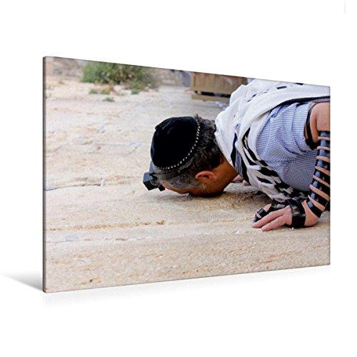Premium Textil-Leinwand 120 cm x 80 cm quer, Kontaktaufnahme | Wandbild, Bild auf Keilrahmen, Fertigbild auf echter Leinwand, Leinwanddruck: Gläubiger Tefillin an der Klagemauer. (CALVENDO Glaube)