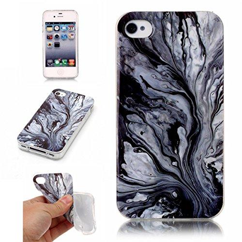 iPhone 4S Hülle Marmor, iPhone 4 Marble Case,iPhone 4S Weich Silikon Handyhülle,Lifetrut Marmor Design Soft Rückseite Stoßstange TPU Gummi Silikon Skin Tasche für iPhone 4S/4 [Rauch] E206-Tinte