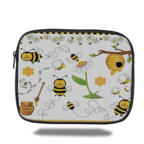 Tablet Bag for Ipad air 2/3/4/mini 9.7 inch,Collage Decor,Flying Bees Daisy Honey Chamomile Flowers Pollen Spring Animal Print,Yellow White Black,Bag -