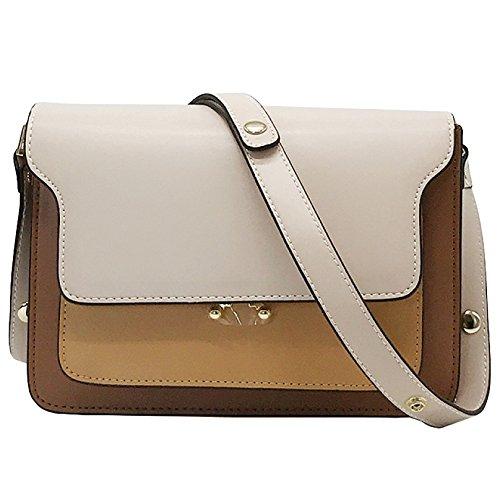 WKNBEU Frauen Weiß Rosa Gelb Braunes Quadrat Mini Echtes Leder Handtasche Crossbody Tasche Schultertaschen,White-OneSize (Quadrat Cocktail Leder)