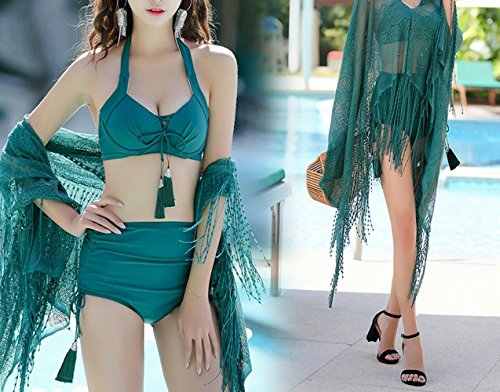 b27e91d43 HOMEE Traje de baño Falda de Playa - Summer Girl Bikini Trio Split Boxer  Pequeño Pecho de Acero Brackets Gather SPA Traje de bañ