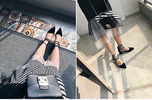 NobS Cuir Pointed Toe Simple 5cm Chunky Heel Sandales à sangle creuse Boules de peluche Chaussures décontractées Black