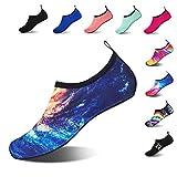 HMIYA Badeschuhe Strandschuhe Wasserschuhe Aquaschuhe Schwimmschuhe Surfschuhe Barfuß Schuhe für Damen Herren(Galaxis,Größe37 38)