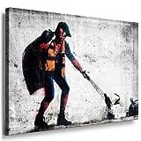 Leinwandbild Banksy Graffiti - Spiderman Art Street Art Graffiti Dolk Leinwand Bild 101x71x2cm von artfacktory24 fertig auf Keilrahmen - Kunstdrucke, Leinwandbilder, Wandbilder, Poster, Gemälde, Pop Art Deko Kunst Bilder