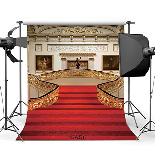 BuEnn 2X2FT 60X60cm Polygewebe Fotografie Kulissen Hollywood European Fancy Interior Roter Teppich Palast Szene Nahtlose Neugeborene Baby Kleinkinder Portraits Hintergrund Foto Studio CA56 (Gold Ballerinas Kleinkind)