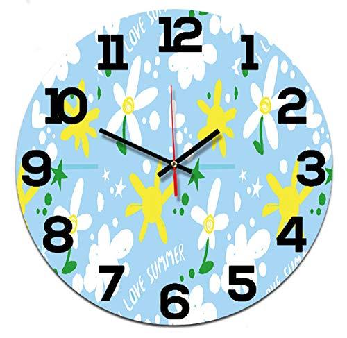 51jvkIbxbFL - LZCHA Radio Reloj Dibujos Animados Estrellas Y Flores Arte Acrílico Reloj De Pared Sala De Niños Sala De Estar Decoración Escolar