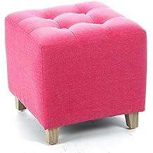 Taburete puff cuadrado - LINO y ALGODÓN - Color ROSA