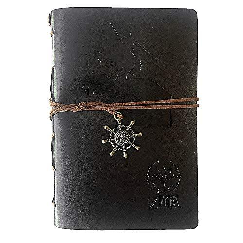 tage-Stil, nachfüllbar, Assassin geprägter Kunst, hochwertiges PU-Leder, klassisches Reisetagebuch mit Kartenhalter und Retro-Anhänger Zelda-dark Brown ()