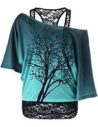 iBaste 2-in-1 T-Shirt Baum Design cold shoulder Bluse Spitze Transluzent cb7b55ffb4