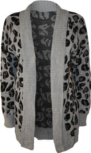 WearAll - Damen Leopard Druck Gestrickt Offen Strickjacke Top - 3 Farben -  Größe 36-