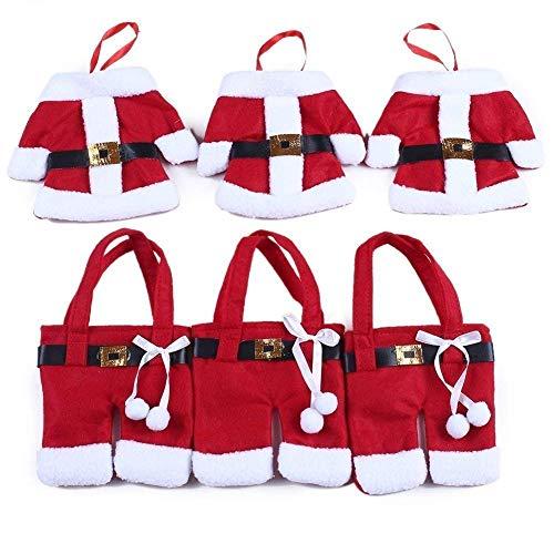 StillCool Weihnachten Bestecktasche Taschen Tischdekoration 6pcs Sankt-Klage Weihnachten Dekoration Tischdeko Besteck Kostüm Kleine Hosen und Kleidung ()