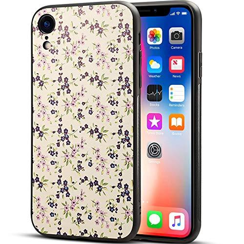 TheSmartGuard Hülle kompatibel für iPhone XR in Schwarz mit Blumen/Flowers Schutzhülle aus Silikon | Blumen/Flowers Aufdruck/Motiv Glänzend | Farbe: Lila/Rosa/Creme