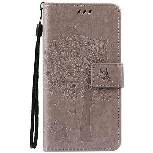 Guran® PU Leder Tasche Etui für Wiko Pulp Fab 4G LTE (5,5 Zoll) Smartphone Flip Cover Stand Hülle und Karte Slot Case-grau