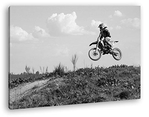 Motocross Fahrer im Sprung Effekt: Schwarz/Weiß Format: 80x60 als Leinwandbild, Motiv fertig gerahmt auf Echtholzrahmen, Hochwertiger Digitaldruck mit Rahmen, Kein Poster oder Plakat