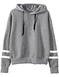 Reaso Sweat Shirt Hooded Sports Femme Automne Tops à Manches Longues Dames  Hiver Rayé Sweat-Shirt Coton Sweats à Capuche Blouson Col Rond… c20bed848297