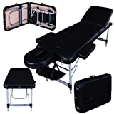 Massage Imperial® Professional LIGHTWEIGHT Buckingham Aluminium 12Kg - Black 3-Section Portable Massage Table Couch Bed Spa 5cm/2
