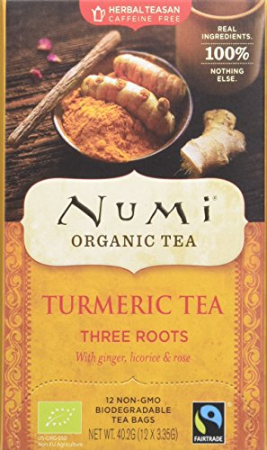 Numi Teas Organic Turmeric Three Roots 12 Teabags (Pack of 6, Total 72)