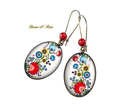 Boucles d'oreilles Broderie Folklorique cabochon motifs russes slave