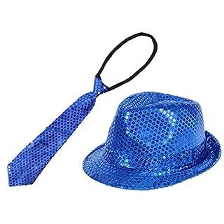 Alsino Pailletten Krawatte und Pailletten Trilby Hut TH-59 blau Set Karneval Fasching Outfit Verkleidung für Erwachsene