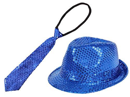 Chapeau trilby + cravate bleu assortie pailleté sequins brillants paillettes accessoire déguisement fête soirée à thème disco ambiance spéctacle homme femme jeune moderne fille garçon Facile à mettre