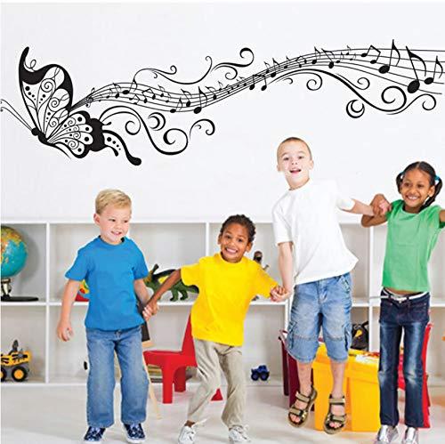 (WFYY Wanddekoration Schmetterling Wandaufkleber Schwarz Musik Hinweis Dave Wandaufkleber PVC/Vinyl Aufkleber Wohnkultur Für Kinderzimmer Removable)