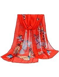 0440c35e5dd AIMEE7 Écharpe Femmes en Mousseline de Soie Élégant Foulard Imprimé  Papillon Longue 2018 Nouvelle Châle Chaude