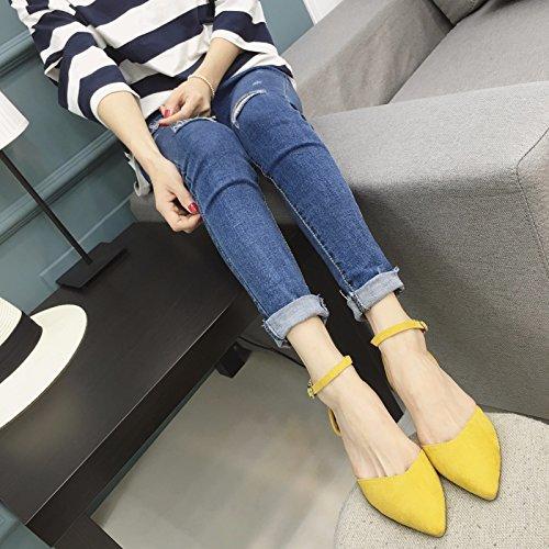 WYMBS femmes chaussures plates occasionnels chaussures de travail confortables talons plats Yellow