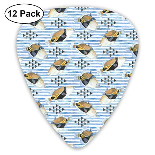 Watercolor Humu Stripe With Triangles On White_2839 Classic Celluloid Picks, 12-Pack, For Electric Guitar, Acoustic Guitar, Mandolin, And Bass