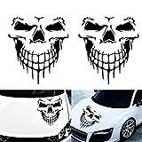 Auto Schädel Aufkleber, Fansport 2 Stück Auto Hood Aufkleber Reflektierende Schädel Muster Auto Dekor Aufkleber