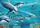 10 cartes d'invitation avec des dauphins, 10 invitations à la fête d'anniversaire dans la piscine ou l'aquarium de Edition...