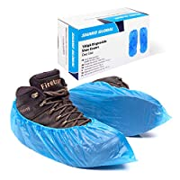 Shard Global Plastic Overshoes, 100 Pack of Strong Disposable Overshoes with a Storage Dispenser Box, Shoe Covers for Flooring