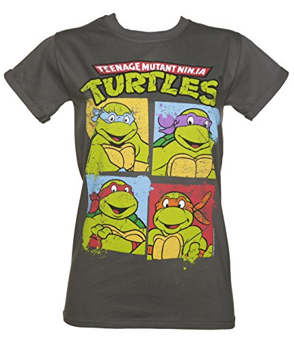 Teenage Mutant Ninja Turtles Boyfriendstyle Damen Tshirt mit gerollten rmeln Schiefergrau (Turtles-damen Ninja Shirt)