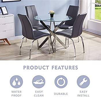 GOLDFAN Round Tempered Glass Dining Table Morden Kitchen Table with Chromed Legs Chrome for Dining Room (Table Only)
