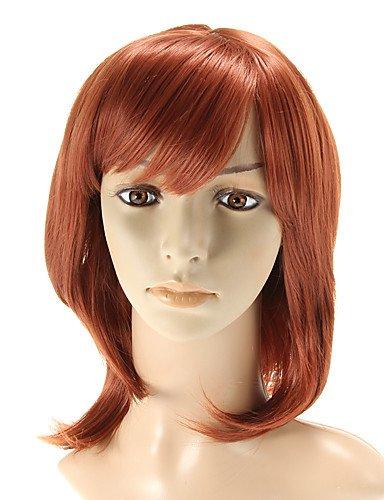 BBDM capless longue perruque rouge quotidien ondulées côté Bang