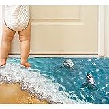 Effetto 3D Adesivi Murali-Pavimento Adesivi Mare Blu Delfino Carta da Pareti per Bambini Camera da Letto Soggiorno Decorazione da Pingenaneer
