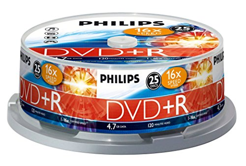 Philips DVD+R Rohlinge (4.7 GB Data/ 120 Minuten Video, 16x High Speed Aufnahme, 25er Spindel)