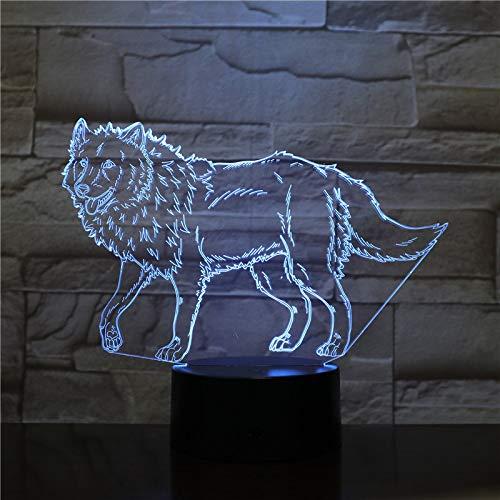 orangeww ha condotto la luce notturna acrilica/tocco di 7 colori/cambiamento di illusione/luce della decorazione domestica/regalo dei bambini/regalo di Halloween/lupo selvaggio