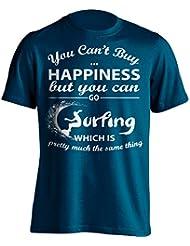"""Funny Surfer Camiseta """"No se puede comprar felicidad pero puedes Go que es lo mismo de Pretty de"""" Surf–Camiseta Idea de regalo para Dad, Brother, Uncle o para un amigo en cualquier ocasión. Regalo de cumpleaños, Regalo del día de padre y regalo de Navidad..., negro"""