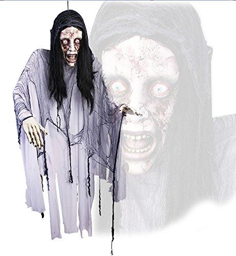 Lebensgroßer Hänge Zombie Untote Frauen Leiche im Fetzengewand Halloween Deko 1,8 Meter groß lifesize Kopf und (Halloween Leichenteile)
