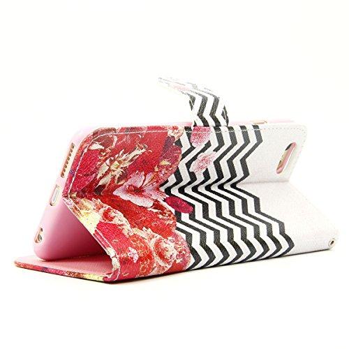 SMART LEGEND Brieftasche Hülle für Apple iphone SE Wallet Case iPhone 5S 5 Premium Schutzhülle London und Paris Landscape Muster Malerei Ledertasche Mode Handyhülle Farbe Tasche Etui Neu Handytasche Z Blumen und Streifen