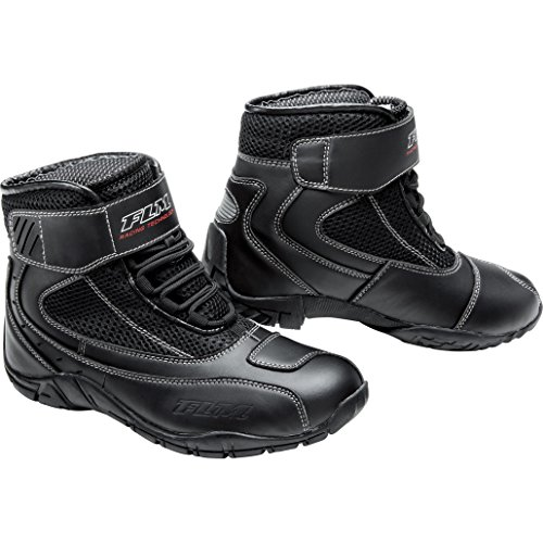 FLM Motorradstiefel kurz, Motorradschuhe Sommer Sport Textil Schuh 3.0 schwarz 42, Herren, Sportler