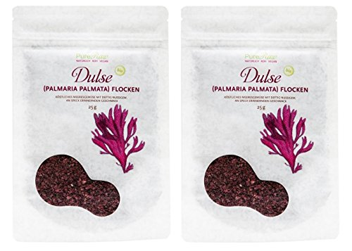 Dulse Flocken (PureRaw Dulse-Flocken 2er-Pack (2x 25g) Lappentang (bio, roh, vegan) Rotalge Palmaria Palmata x2)